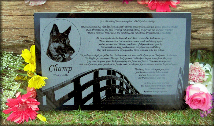 Personalized And Photo Engraved Rainbow Bridge Poem