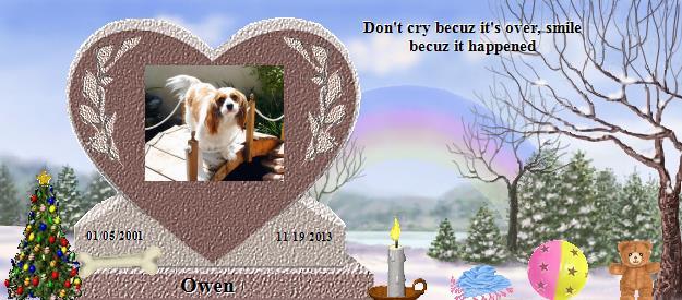 Spring Forward Back To Winter In Owen >> Owen S Rainbow Bridge Pet Loss Memorial